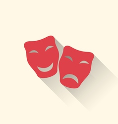 Flat icons of comedy and tragedy masks for vector