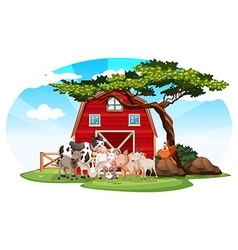 Farm scene with animals vector