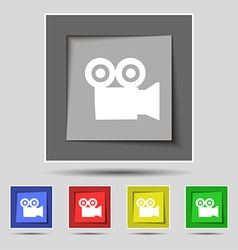 Video camera icon sign on original five colored vector