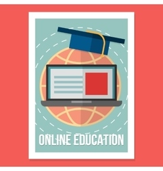 Online education poster wit vintage vector