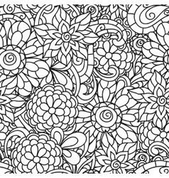 Seamless nature pattern with line flowers for vector
