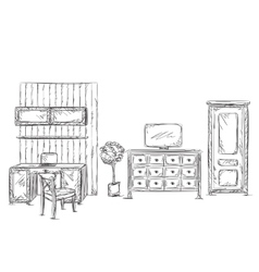 Modern interior room sketch hand drawn workplace vector