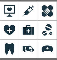 Antibiotic icons set collection of injection vector