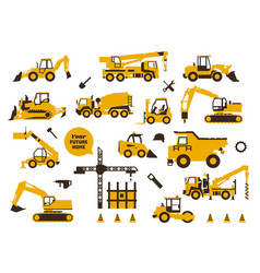 big set of icons construction work building vector image