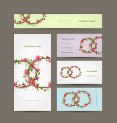 business cards collection wedding design vector image