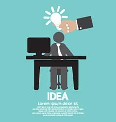 Businessman with a light bulb idea concept vector