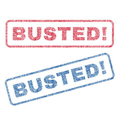 Busted exclamation textile stamps vector