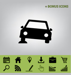 Car parking sign black icon at gray vector