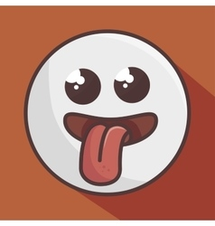 crazy face emoticon isolated icon design vector image