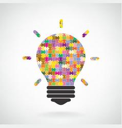 Creative puzzle light bulb Idea concept background vector image