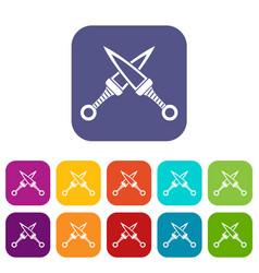 Crossed japanese daggers icons set flat vector