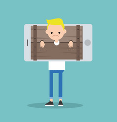 Cyberbullying conceptual young blond boy vector