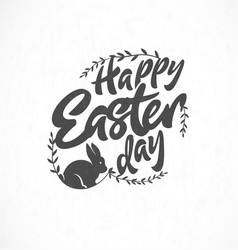 Easter greeting card with leaves and rabbit vector
