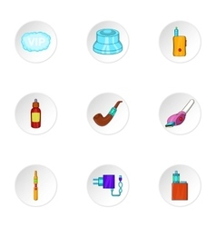 Electronic smoking cigarette icons set vector