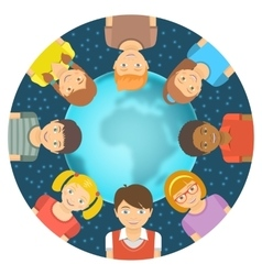 Flat different kids around the earth vector