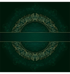 Floral gold frame with vintage patterns on green vector image vector image