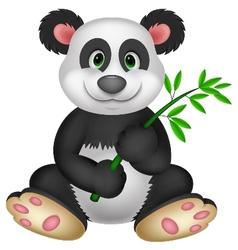 Giant Panda cartoon eating bamboo vector image vector image