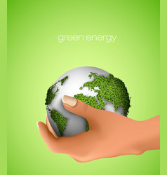 Green Planet in hand vector image