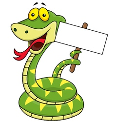 Green snake with blank sign vector image