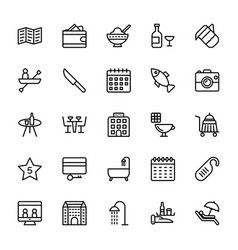 hotel line icons 7 vector image vector image