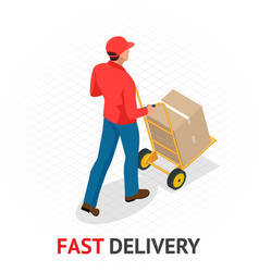 Isomeric fast delivery concept delivery man in vector