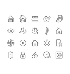 Line Smart House Icons vector image vector image