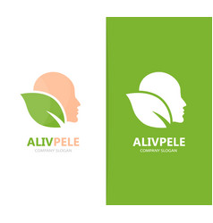 man and leaf logo combination face and vector image vector image