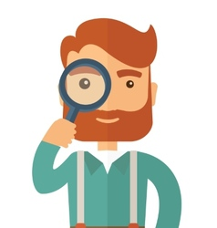 Man with the magnifying glass vector image