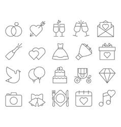 Outline web icon set - wedding vector image