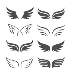 pair of monochrome wings icon set vector image vector image