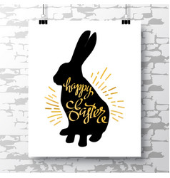Poster with a handwritten phrase-happy easter on vector