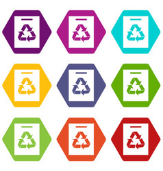 recycling icon set color hexahedron vector image