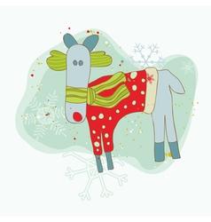 Retro christmas reindeer card vector