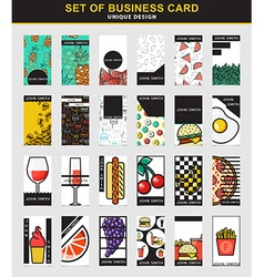 Set of 24 stylish business card design for food vector image vector image