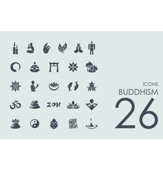 Set of buddhism icons vector image