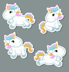 Set of unicorn stickers set of unicorn stickers vector