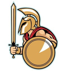 spartan army with shield vector image