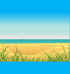 summer beach with sailboat postcard background vector image vector image