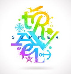 Summer travel multicolored type design vector