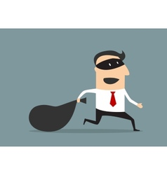 Thief businessman carrying money bag vector image