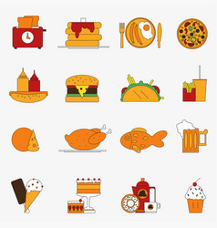 Trendy color flat food products icon set european vector