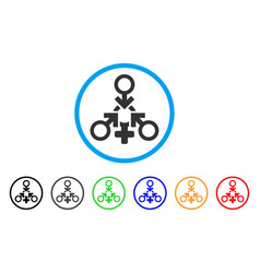 Triple penetration sex rounded icon vector