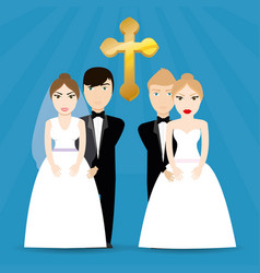 Two couple wedding cross image vector
