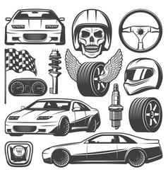Vintage car racing icons set vector