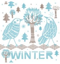winter knitting scene vector image vector image