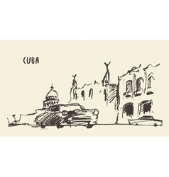 Sketch of a streets in cuba vector