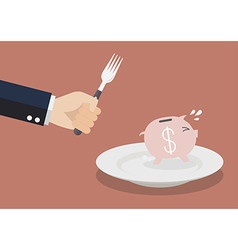 Piggy bank run away from big hungry man vector