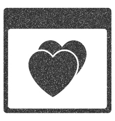 Hearts calendar page grainy texture icon vector