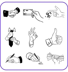 Hand gestures - business set vector image