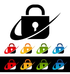Swoosh security lock logo icons vector
